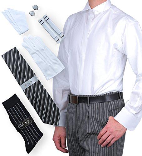 8537b916adf45 (S) ウイングカラーシャツ+フルセット(ネクタイ+カフスボタン+アーム