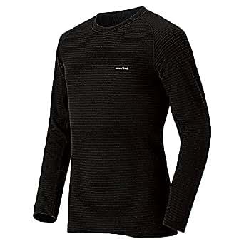 (モンベル)mont-bell スーパーメリノウール EXP.ラウンドネックシャツ Men's 1107581 BK ブラック L