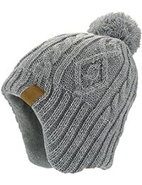 LittleSpring 耳あて ニット 帽子 ポンポン付き 防寒 防風 あったか ニットキャップ キッズ用ハット ニット帽 子供服 ジュニア ボーイズ