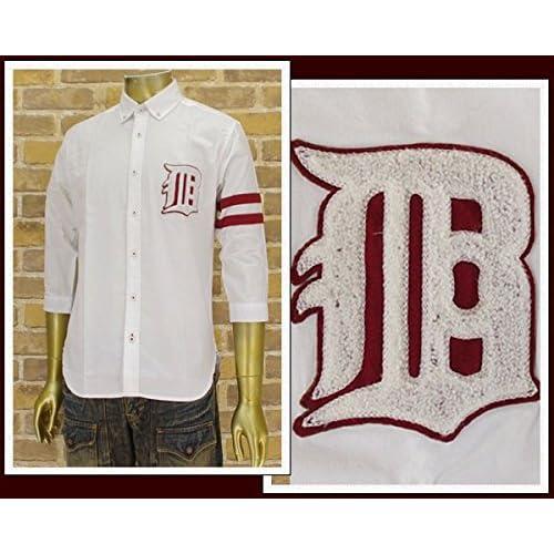 キャンディファンタジー CANDY FANTASY オックス素材 サガラワッペン 7分袖 レギュラーシャツ メンズ 14-2200-1サガラワッ ホワイト L