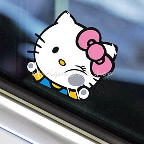 ハロー キティ HELLO KITTY 顔潰れ 車 窓 ウィンドウ デカール カー ステッカー (並行輸入品) (Sサイズ 14×13cm)