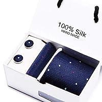 MFYS メンズ ネクタイ カフス ボタン チーフ 3点セット 12色選択可能 ビジネス 就活 結婚式 入学式 卒業式 二次会 父の日 パーティー (Style-11)