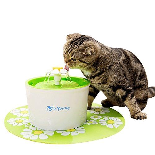 isYoung 猫用自動給水器 ペット自動給水器 水飲み器 シンプルでキュートな循環式給水器 BPAフリー 大容量 フラワーファウンテン 活性炭フィルター 食事マット付き(1.6L)