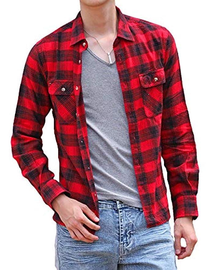 悪党日焼けフレア[エムシー] 長袖シャツ メンズ ネルシャツ 起毛 コットン ネルチェックシャツ