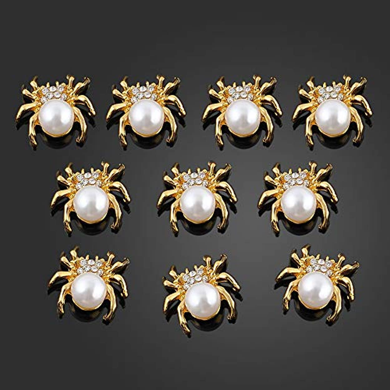キルトメディック生きる10個/ロット新しいグリッターゴールドスパイダー3DネイルチャームジュエリーDIYパール合金ネイルアートの装飾ネイルツールステッカー