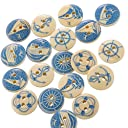 HooAMI 木製 ボタン 裁縫 ブルー ボタン 手芸 ウッドボタン 可愛い 飾り 航海モチーフ 2穴 15mm 50個