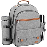 Sunflora Picnic Backpack for 4 Person Set Pack with Blanket & Insulated Waterproof Pouch for Family Outdoor Camping