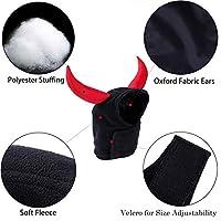 RaiFu ぺット帽子  ハロウィン、クリスマス 装飾 調節可能 牛 悪魔 シェイプ 猫 帽子 テディ 犬猫 クール 帽子 ブラック