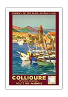 コリウール、フランス - Pyr?n?es Orientales (東ピレネー) - ピレネー山脈を抜ける道 - パリ・オルレアン・ミディ鉄道 - ビンテージな鉄道旅行のポスター によって作成された E・ポール・シャンプセックス 1934 - キャンバスアート - 69cm x 102cm キャンバスアート(ロール)