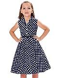 子供服 女の子 春 水玉模様 袖なし ラペルカラー レトロスタイル ベルト付き ワンピース ドレス ネイビー+ホワイトドット 120cm