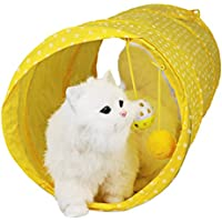 Legendog 猫 トンネル 折り畳み  ドーム  キャット おもちゃ 誘い玉付き 面白い 愛猫 玩具 通気性 ストレス解消 ペット 遊び道具 二つ穴付き ポリエステル (イエロー)