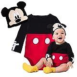 ディズニー ミッキーマウス ミッキー 70cm 3-6ヶ月 長袖 ロンパース & 帽子 2点セット 赤ちゃん ベビー キッズ 子供 ハロウィン 衣装 コスチューム ボディースーツ レッド