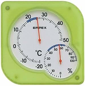 エンペックス 温度計 湿度計 シュクレミディ 置き掛け クリアグリーン TM-5603