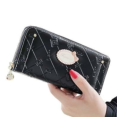 レディース 長財布 ブランド wallet ラウンドファスナー 黒 青 白(ブラック)