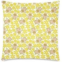 可愛い 子供 花とミツバチ 座布団 45cm×45cm可愛い 子供 花とミツバチ 座布団 45cm×45cm