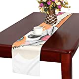 GGSXD テーブルランナー 面白い コーギー クロス 食卓カバー 麻綿製 欧米 おしゃれ 16 Inch X 72 Inch (40cm X 182cm) キッチン ダイニング ホーム デコレーション モダン リビング 洗える