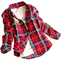 CHIGANT Womens Flannel Plaid Boyfriend Shirt,Long Sleeve Ladies Casual Button Down Blouse Top