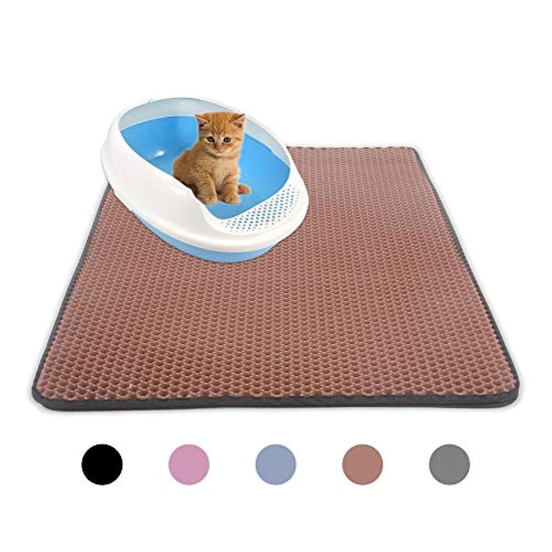 Kicat® 猫用トイレのパッド2層防水猫用トイレのマットペットフットマッサージパッド (XL: 55*75 cm, 004:ブラウン)