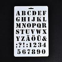 SODIAL レターステンシル、レターと数字ステンシル、画用紙クラフトアルファベットと数字ステンシル(#1)