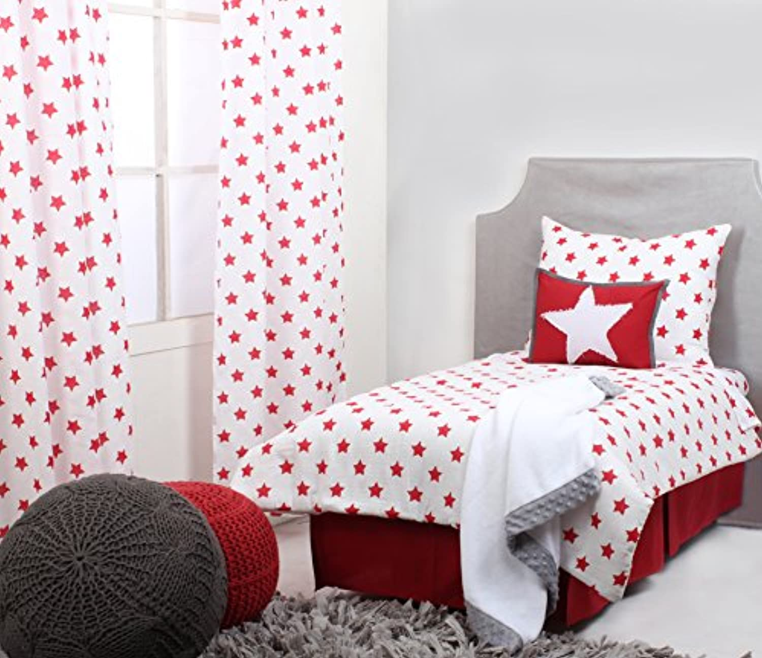 Bacati Stars Muslin 4 Piece Toddler Bedding Set, Red by Bacati