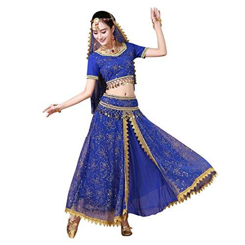 ベリーダンス 衣装 5点セット - シフォン コスプレ ハロウィン アラジン衣装 半袖トップス ロングスカート(B,M)