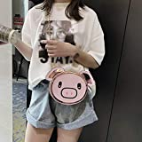 ファッション女の子革チェーン野生のかわいい漫画豚肩メッセンジャーバッグ、女の子チェーン野生のかわいい豚肩メッセンジャーバッグ (ピンク)