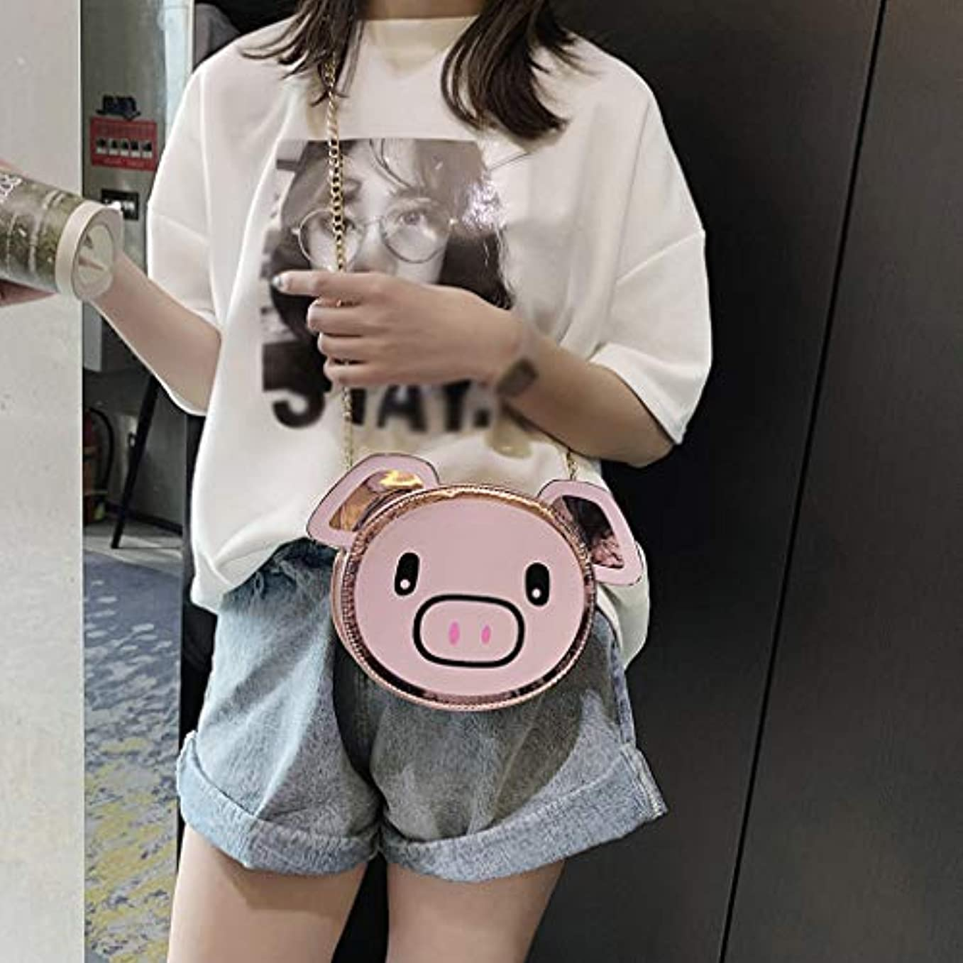 がっかりした創造谷ファッション女の子革チェーン野生のかわいい漫画豚肩メッセンジャーバッグ、女の子チェーン野生のかわいい豚肩メッセンジャーバッグ (ピンク)
