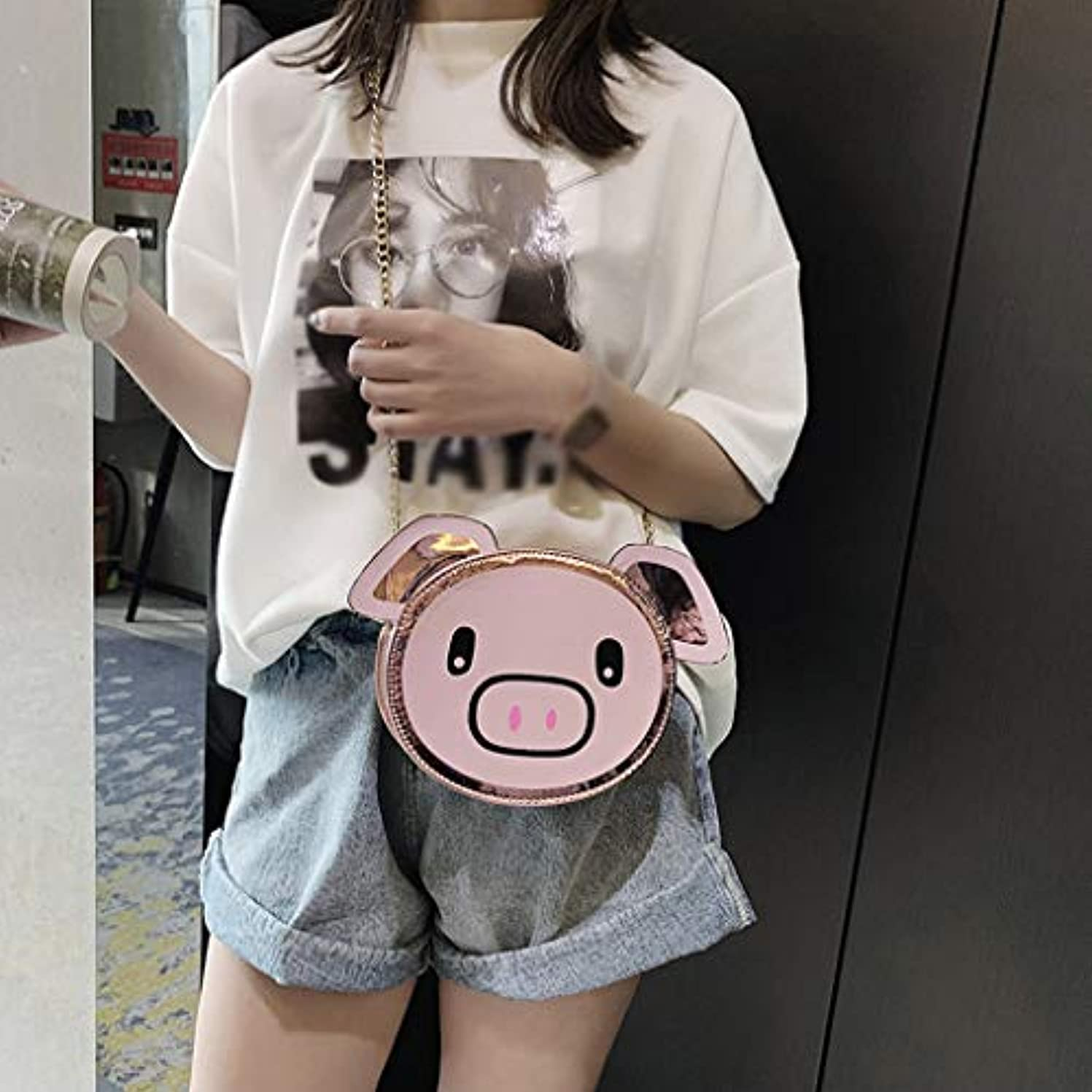 サドル撤退バーファッション女の子革チェーン野生のかわいい漫画豚肩メッセンジャーバッグ、女の子チェーン野生のかわいい豚肩メッセンジャーバッグ (ピンク)