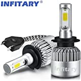 Infitary-H7 Headlight Bulbs LED COB Chips 72W 6500K 8000LM Single Beam IP65 Waterproof 1 Pair Silver