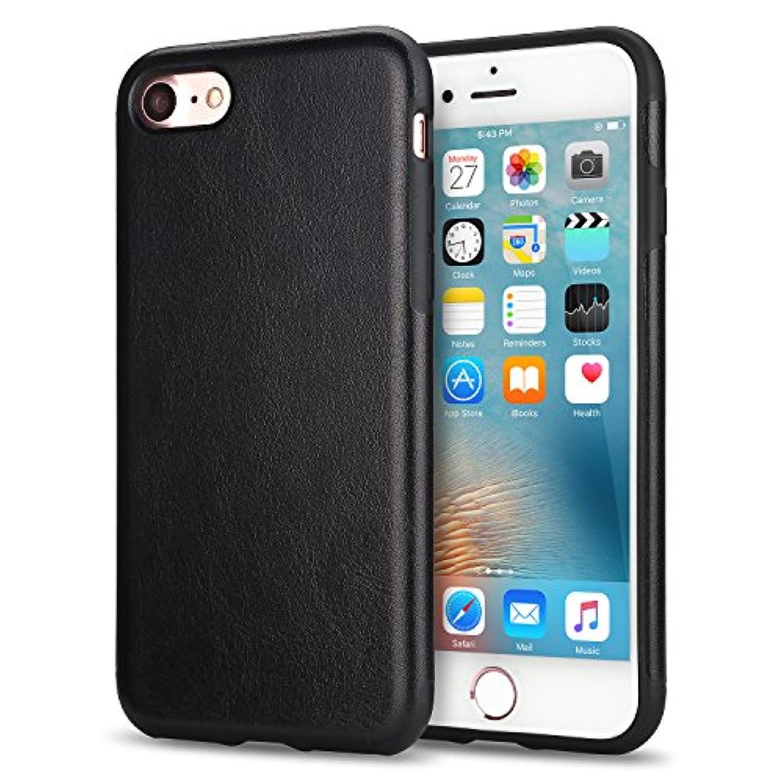 真向こうミネラル動機付けるTENDLIN iPhone SE ケース [第2世代] / iPhone8 ケース / iPhone7 ケース レザーとTPUソフトケース 薄型 軽量 ワイヤレス充電 アイフォンSE (2020年モデル) アイフォン8 アイフォン7 カバー (ブラック)