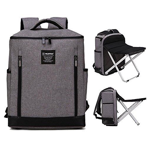軽量フォールディングチェアー いつでもどこでも座れるリュック リュックサック ノートパソコン ビジネスバッグ 多機能 ピクニックバッグチェア キャンプ/釣り/スポーツイベント/テールゲート/ハイキング/ピクニックなどに最適 (グレー)