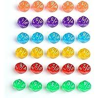 【30個セット】 10面 サイコロ 小 ゲーム ダイス おもちゃ カラフル 6色各5個入り 18mm TRPG