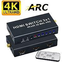 ELEVIEW HDMI 切替器 4K 3D セレクター 3入力 1出力 hdmi 音声分離 ( 音声出力:SPDIF光デジタル 同軸 3.5mmステレオミニ L/Rアナログ ) HDMI 分配器 hdmi スイッチャー hdmi オーディオ 分離 スプリッター ARC CEC MHL フルHD対応 リモコン付き