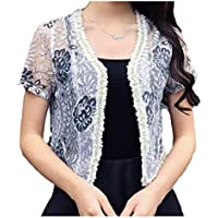 RkBaoye Womens Open Front Lace Long Sleeved Shrug Plus Size Cardigan