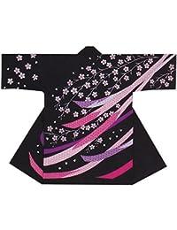 【よさこい衣装?袢纏?法被】長袢天 黒 熨斗/桜 B8522