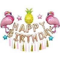 MORA 誕生日風船 バルーンセット 誕生日パーティー飾り付けセット 女の子 パーティーグッズ お祝い 風船セット 吊るせる フラミンゴ 星 パイナップル タッセル 紐 テープ おしゃれ