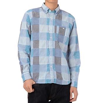 Patchwork Madras Buttondown Shirt 387-84021: Blue