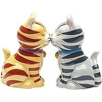 ストライプKissing Kittens Magnetized Tabby Cats Salt and Pepper Shaker Set
