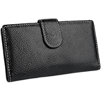 YALUXE Women's Soft Genuine Leather Card Case Slim Wallet with Colorful Interior