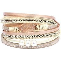 Bigood Women Faux Pearl Multi-Layer PU Leather Bracelet Cuff Bangle Jewelry