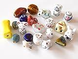 usausaのお店 可愛い動物他の中国ビーズ(磁器製) 20個セット(約10mm~20mm) ねずみ・ぶた・ひつじ・うさぎ・ねこ・とら他/根付等の製作に (B474)