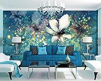 Bzbhart 3D壁画、青いグレアの下の透明な美しい夢の花、リビングルームのソファテレビの寝室の壁紙-200cmx140cm