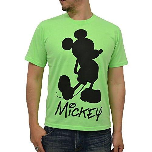 (ディズニー) Disney 蛍光カラー ミッキーマウス Tシャツ メンズ 半袖 L ライトグリーン