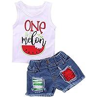 Little Girls One in A Melon Watermelon Vest Tank Tops + Tassel Denim Shorts
