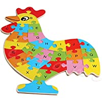 チキンeducational-funny-wooden-blocks-animals-kid-children-toy-alphabet-puzzle-jigsaw