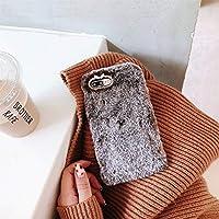 ACHICOO スマホケース ぬいぐるみ ふわふわ iPhone X/XS用 ケース 耐衝撃 バックケース 激可愛い 冬 暖かい iPhone X/XS用 ブラウングレー