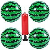 スイカボール,BESTZY 4個ビーチボールスイカビーチボール子供用屋外ビーチ1個の気球ポンプを使って