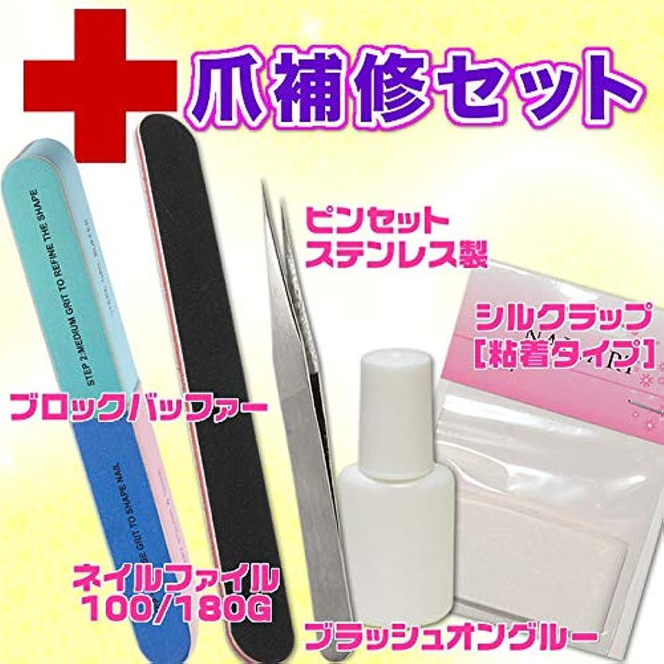 値バッテリー参照割れた爪のリペアキット 爪補修セット シルクシートとグルー&ファイルのセット
