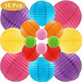 Runbod 16 Packs Multicolour Paper Lanterns with Assorted Sizes for Party, Wedding and Other Celebration Decorations, Multicolor