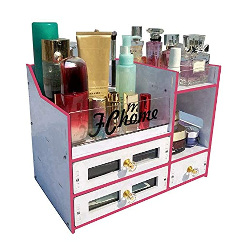 サスペンドタービンモザイクFChome化粧品収納ボックス引き出しアクリルPVCジュエリー化粧品収納ラック大容量化粧収納ボックスセット、ピンク